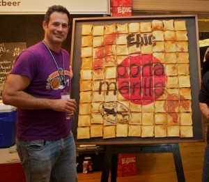 Mr. Calagione and a sign made from toast. As usual, thinking outside the breadbox.