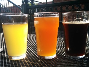 Drinking outside at the Phoenix Brewing Co. The light!